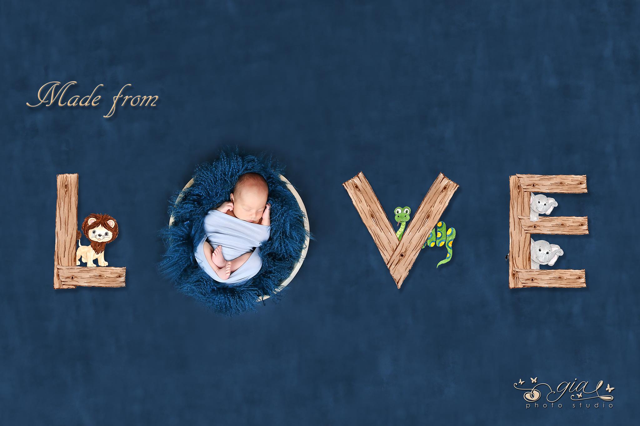 poza nou nascut bebelus GIA – with love baby